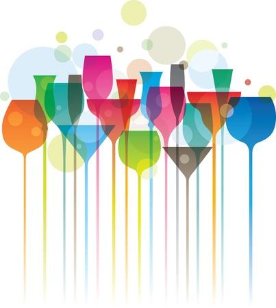 alcool: Composition des verres � cocktail color�, concept de soir�e