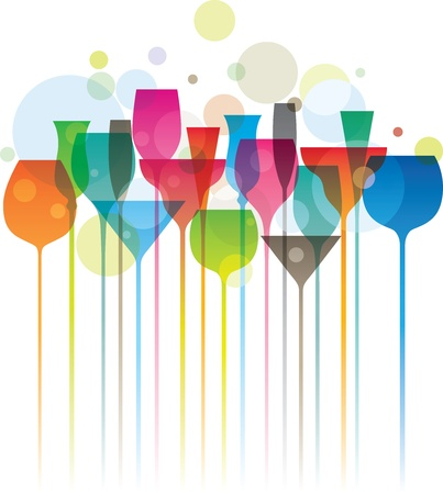 beverage menu: Composition of colorful cocktail glasses, party concept