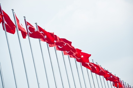 flagging: Turkish flags waving in the blue sky