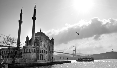 bosporus: Ortakoy Mosque and the Bosphorus Bridge, Istanbul Stock Photo