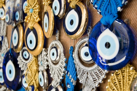 talismán: Turcos mal de ojo perlas, nazar Boncugu Foto de archivo