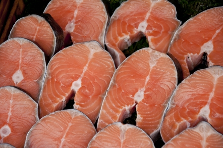 Salmon fish fillet slices photo