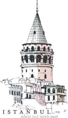 Hand drawn illustration of the Galata Tower, Istanbul, Turkey Vector