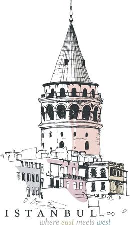 turkey istanbul: Illustrazione disegnata a mano della Torre di Galata, Istanbul, Turchia