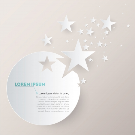 minimalist: Vector background with paper stars and circle