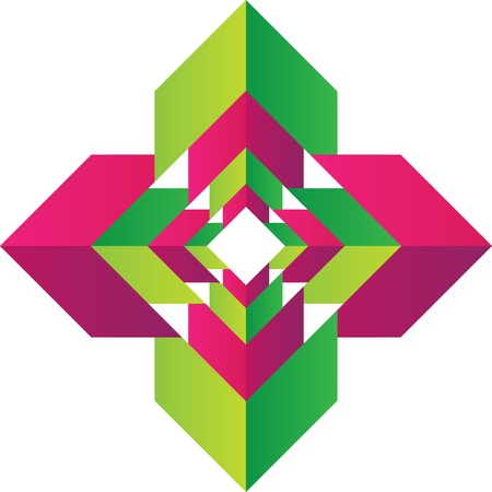Modern logo design with magenta and green arrows building a square shape Stock Photo - 19664189