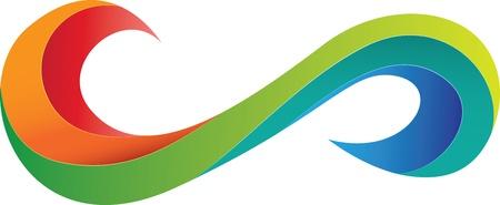infinito simbolo: Dise?el logotipo abstracto colorido con cintas en la eternidad o la forma de s?olo de infinito