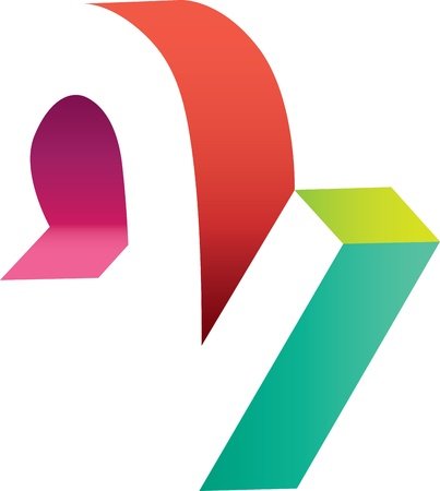 Abstract and stylized logo of the number two with colorful 3D elements Stock Photo - 19664188