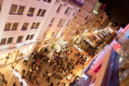 nite: ISTANBUL, TURKEY - DECEMBER 18, 2011 : Istiklal Street, Istanbuls most lively place. Full of people, cafes, bars, shops open day and night, taken on December 18, 2011