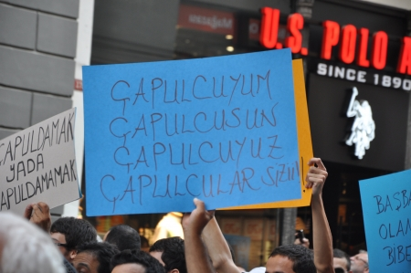 protestors: ISTANBUL, TURKEY - JUNE 1, 2013 : Gezi Park protests in Istanbul.Turkish protestors clash police under excessive use of violence and tear gas. A small demonstration turned into a national uprising