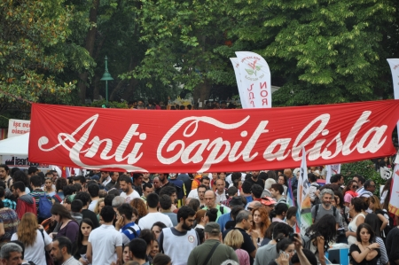 anti capitalist: ISTANBUL, TURKEY - JUNE 6 2013: Gezi Park Public Protest against the government Editorial