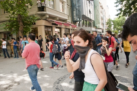 provocative food: ISTANBUL, TURKEY - May 31 2013: Gezi Park Public Protest against the government spread to the whole country. May 31 2013, Istanbul