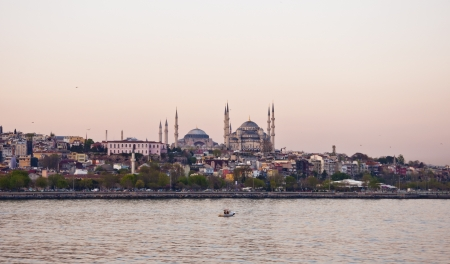 Istanbul Silhouette in sunset photo