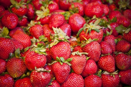 grocery store series: Pile of fresh and ripe strawberries