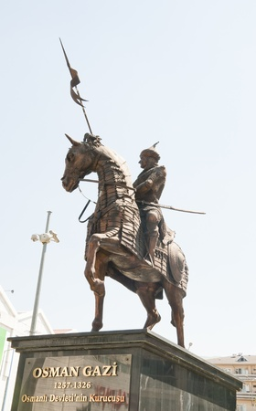 ottoman empire: Statue of Osmangazi, the founder of the Ottoman Empire in Bursa, Turkey