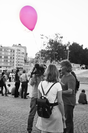 sedition: ISTANBUL, TURKEY - June 18 2013  Standing Man protest following the Gezi Park conflicts in Istanbul  People only stand still and silently to protest the government s actions  June 18 2013, Istanbul