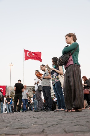 noncompliance: ISTANBUL, TURKEY - June 18 2013  Standing Man protest following the Gezi Park conflicts in Istanbul  People only stand still and silently to protest the government s actions  June 18 2013, Istanbul