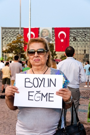 ISTANBUL, TURKEY - June 18 2013  Standing Man protest following the Gezi Park conflicts in Istanbul  People only stand still and silently to protest the government s actions  June 18 2013, Istanbul