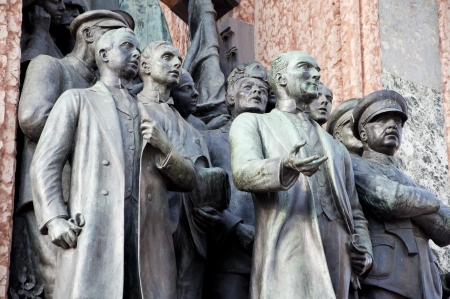 turkish people: Detail from the Independence Monument at Taksim Square in Istanbul,TURKEY