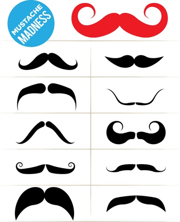 handlebar: Set of funky mustache types Illustration