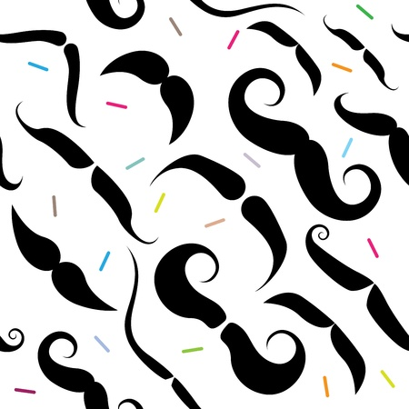 sideburns: Seamless pattern with funky mustache types