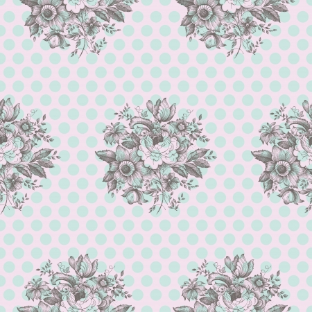 pink wall paper: Seamless pattern design with classic flowers and polka dots