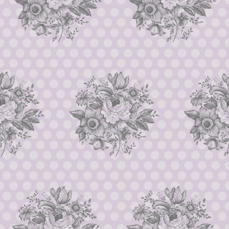 Seamless pattern design with classic flowers and polka dots Vector