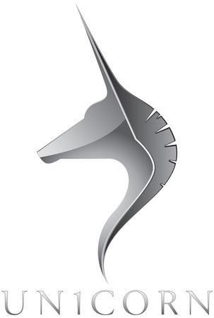 merken: Zilveren Eenhoorn Head Emblem Ontwerp Stock Illustratie