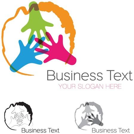 Abstract ontwerp element met drie handen in een cirkel, participatie en solidariteit begrip Stock Illustratie