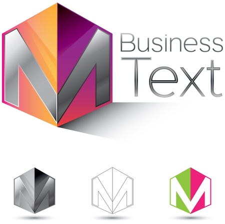 m: Attractive corporate identity design element with the letter M in  glossy 3d box