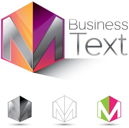 logos negocios: Elemento de dise�o de identidad corporativa atractiva con la letra M en 3d cuadro brillante
