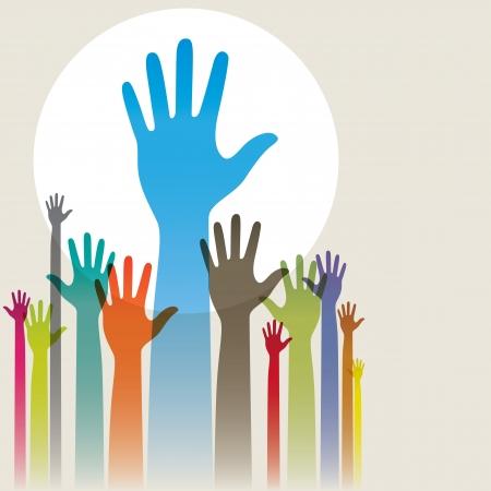 Ilustración vectorial de coloridas manos levantadas