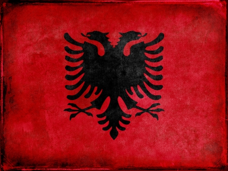 albanian: Grunge Albanian Flag Stock Photo