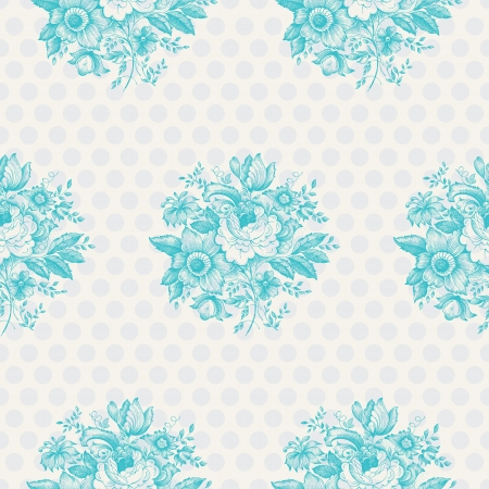 Seamless pattern design with classic flowers and polka dots photo