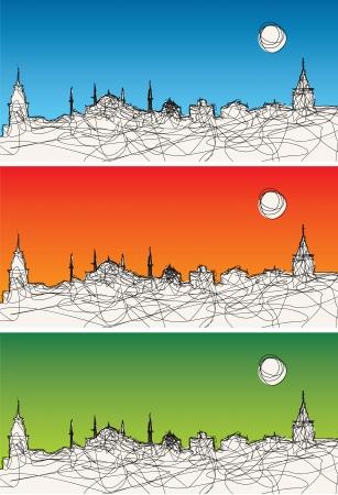 Set of three vector illustration of Istanbul silhouette Stock Illustration - 20479278