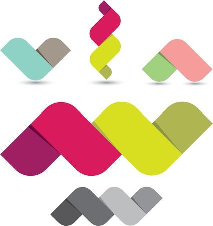 fold: Abstract colorful ribbon icon set
