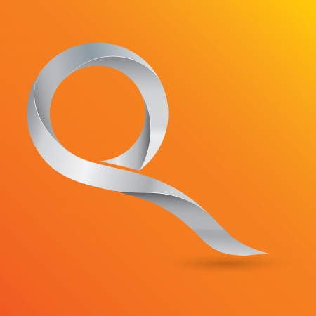 q: Modern 3d stylized metal letter Q on vivid orange background
