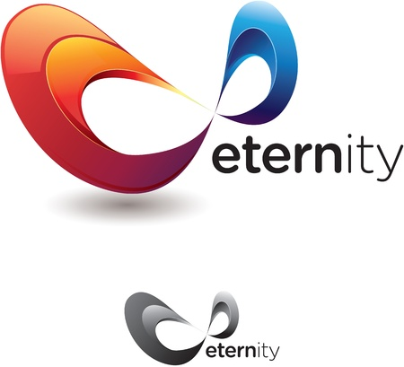 Stylized eternity or infinity symbol with flashy colors and monochrome version