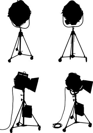 lighting equipment: Set of four professional lighting equipment silhouettes Stock Photo