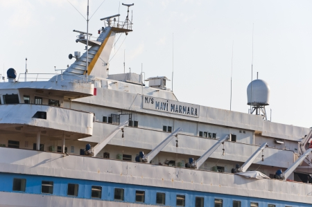 civilians: ISTANBUL, TURKEY - JUNE 26 2013  Mavi Marmara ship currently resting in Istanbul, on June 26 2013  Attacked by Israeli forces for bringing aid to Gaza, unarmed civilians got killed in 2010