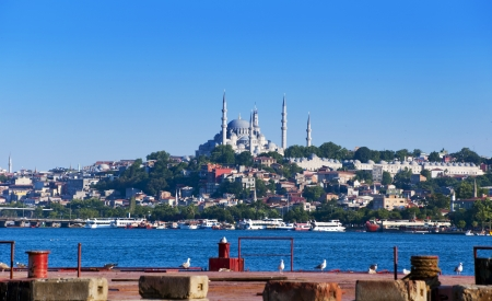 Sultanahmet  the Blue Mosque  under a blue sky, Istanbul - Turkey