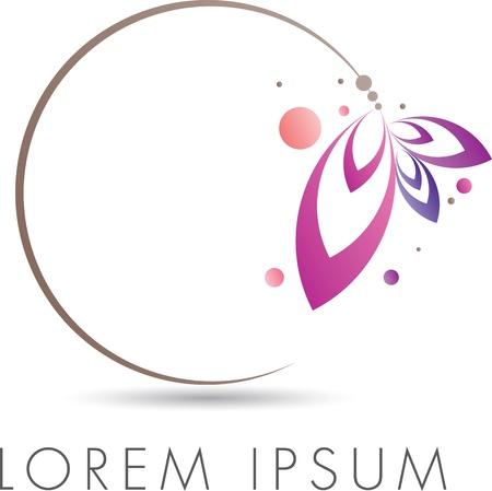 merken: Abstract elegant embleem ontwerp met florale cirkel Stock Illustratie