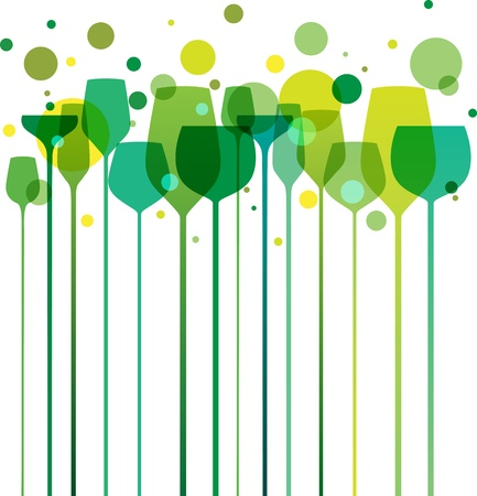 Green party drink glasses Vector