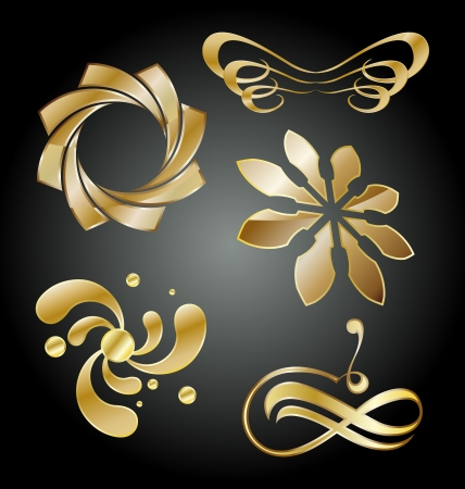 Collection of golden ornamental icons Vector