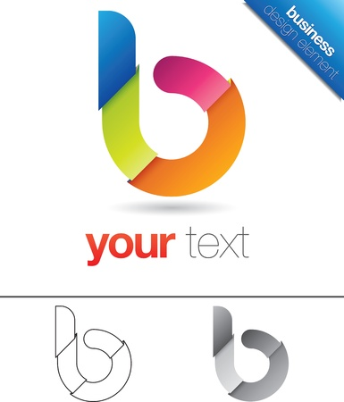 letter case: Modern vector design element with the letter b in lower case