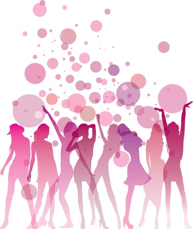 glamour shopping: Dancing woman silhouettes with bubbles and copy space Illustration