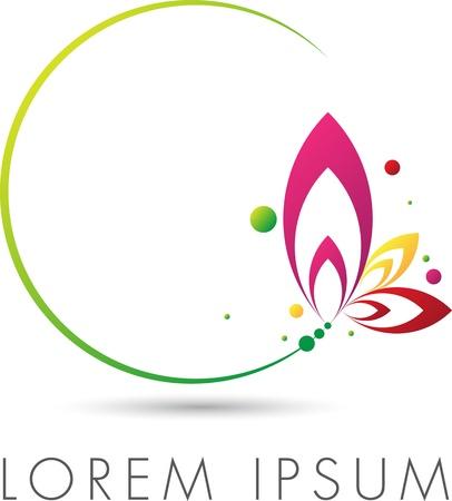 flashy: Abstract elegant emblem design with floral circle Illustration