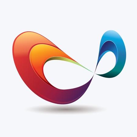 Extracto y colorido símbolo de infinito con efectos de luz Ilustración de vector