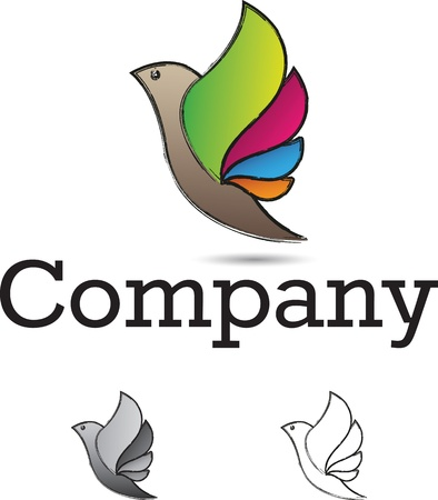 Colorful and stylized flying bird logo design element Vector