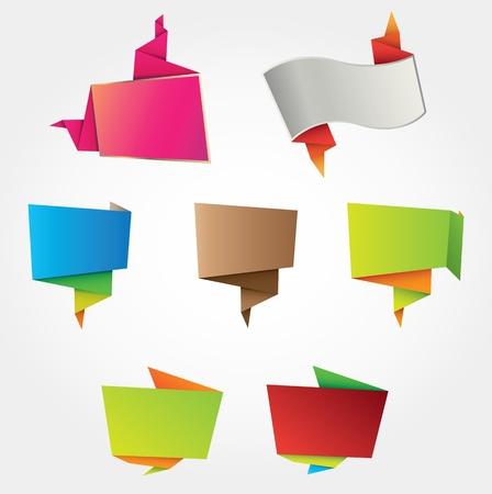 folded paper: Multicolored origami labels design element set